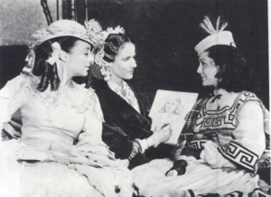 """During the filming of """"Gone with the Wind,"""" Alicia Rhett made sketches between takes. Here with Evelyn Keyes and Ann Rutherford. (Photo from """"The Filming of Gone with the Wind"""" by Herb Bridges)"""