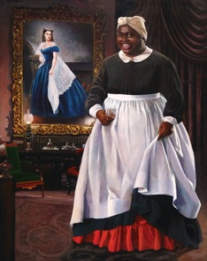 "Artist Joseph Yakovetic did this. Mammy shows Mr. Rhett the red silk petticoat she had put off wearing for ""too long.""  In her hand, the glass of sherry shared to celebrate the birth of Bonnie Blue Butler. (For information on Yakovetic's GWTW paintings and more:  http://www.yakovetic.com/)"