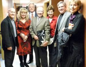 "In the ""Green Room"" before the author panel at the 70th  in Marietta. From left, Joe Yakovetic, Sally Rains, Robert Osborne, Herb Bridges, Kathy Witt, Michael Sragow"